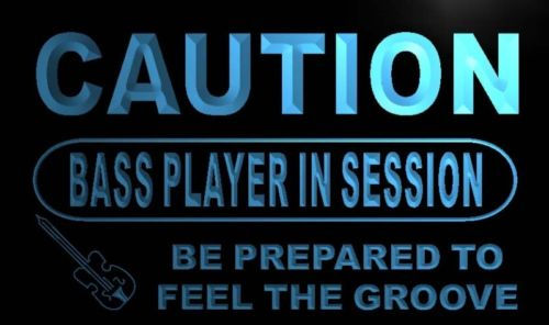 Caution Bass Player in Session Neon Light Sign